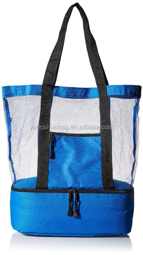 Fashionable Beach Picnic Outdoor 12 drinks Mesh Cooler Bag Tote for Travel