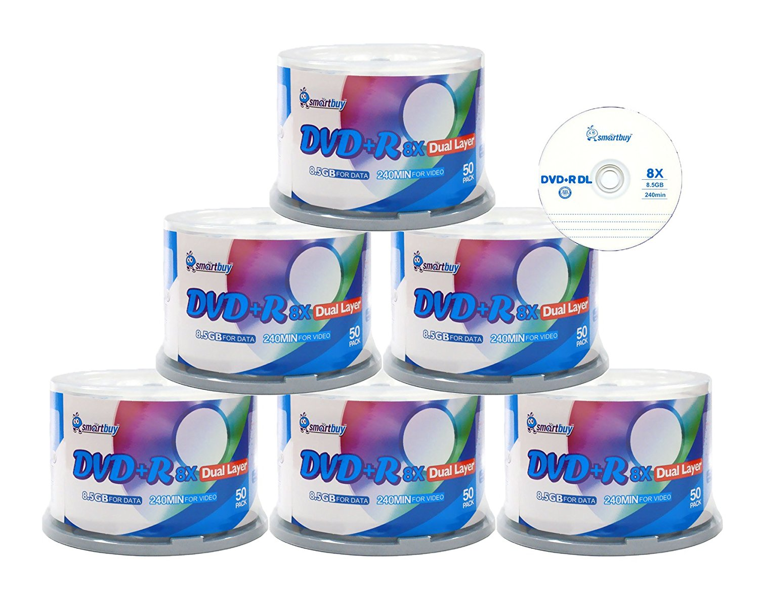 Smartbuy Logo 300-disc 8.5gb/240min 8x Dvd+r Dl Dual Layer Double Layer Blank Data Record Media Disc Spindle