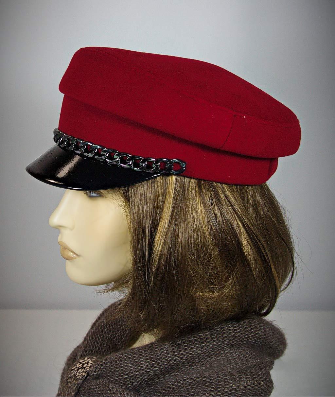 Cape breton hat, breton hat, cap with strap, Mariner breton cap, baker cap, captains hat, breton style, baker cap, red breton hat, red cap