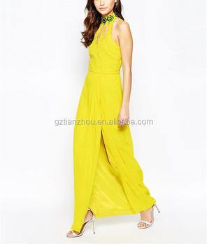 d81d93b90171 Hot Selling Pretty Yellow Chiffon Overlay High Neck Evening Dress Elegant  Long Prom Dress With Cut