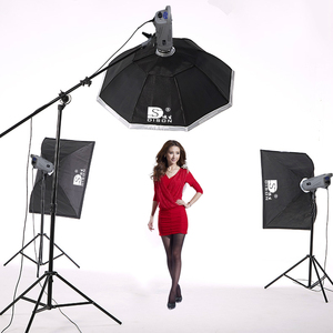 Three flash light 600w photo studio soft box lighting kit