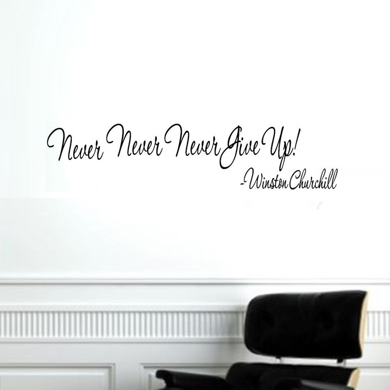 Never Give Up Wall Decal Inspiring Home Decor Living Room Wall Art Sticker Vinyl Adhesive Wallpaper 59x13cm