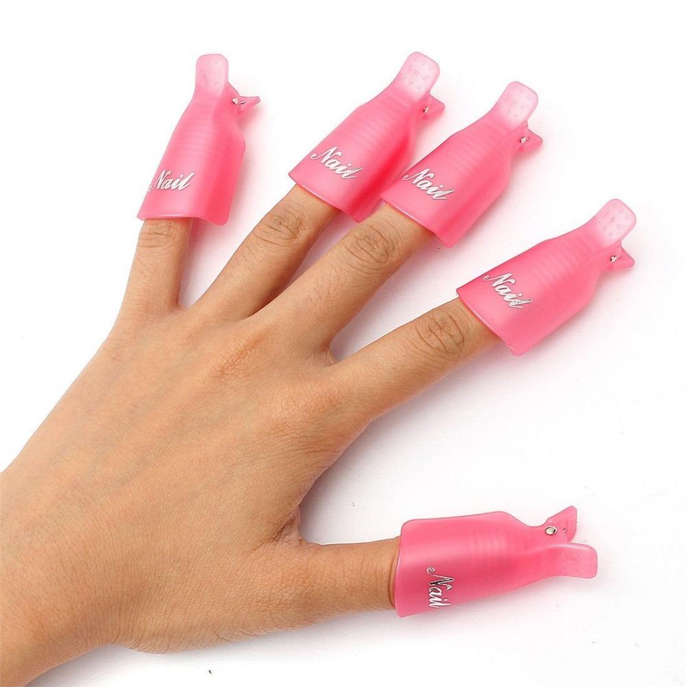 New 10PC Set Plastic Nail Art Soak Off Cap Clip UV Gel Polish Remover Wrap Tool