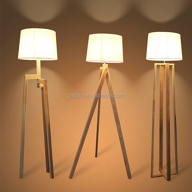 Modern Floor Lamp Wood 3 legs Tripod Wooden Floor Lamp