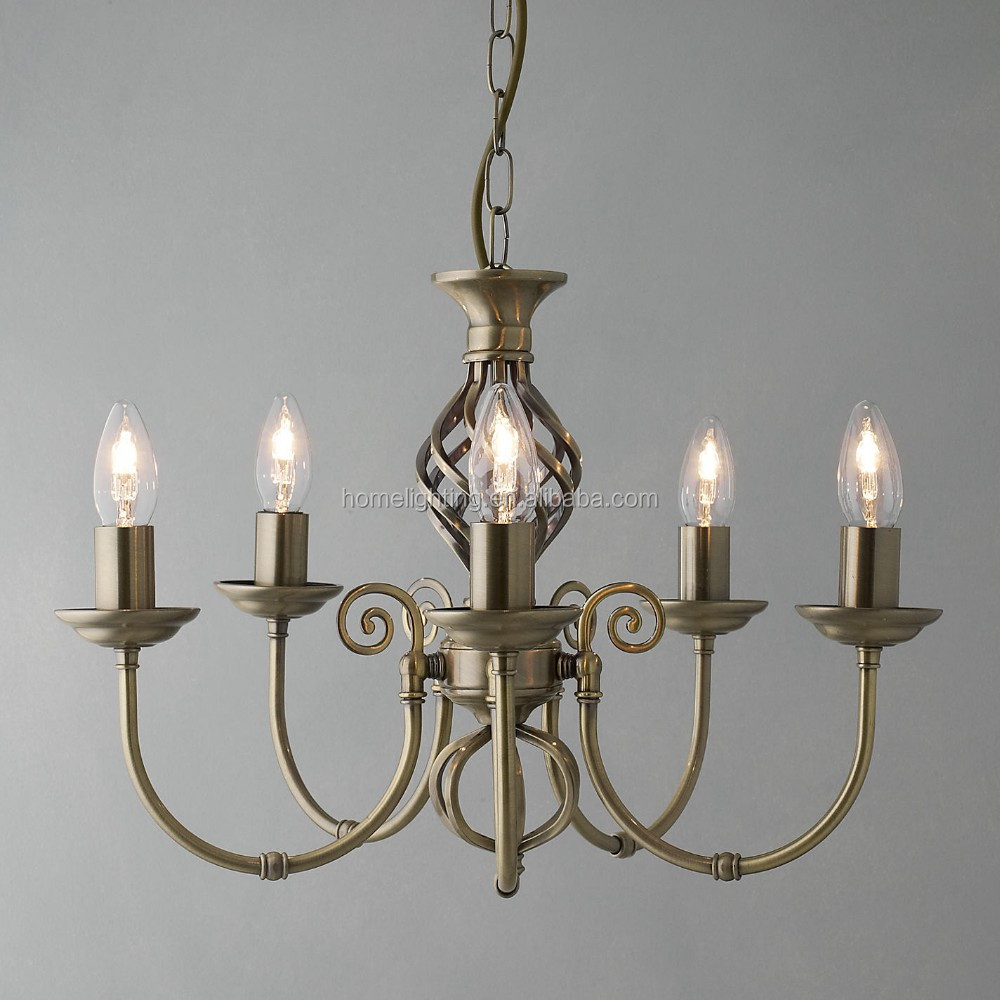 PM-4634 Traditional classic Vintage brass barley twist 5 arm fiting chandelier light