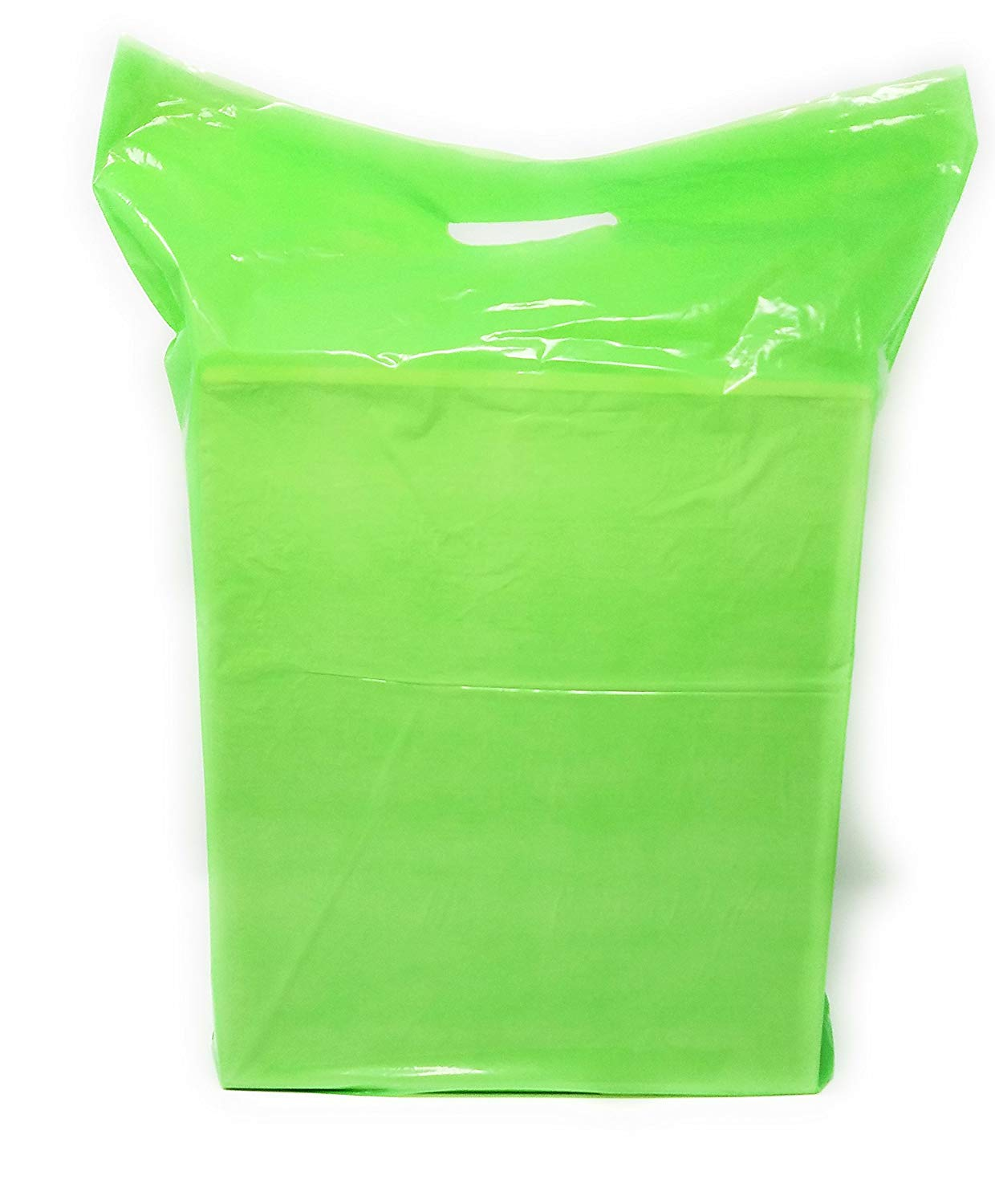"""Green Merchandise Plastic Shopping Bags - 100 Pack 15"""" x 18"""" 1.25 mil Thick, 2 in Gusset 