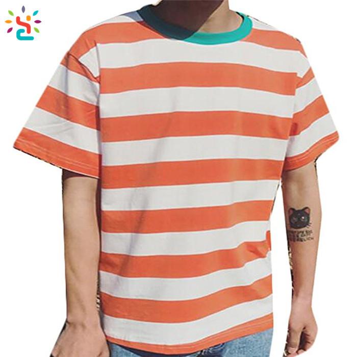 b2a94cf0d48 Wholesale striped t-shirt men Lightweight Hip Hop curved hem tee Hipster summer  fashion custom logo Blank Striped T-shirts