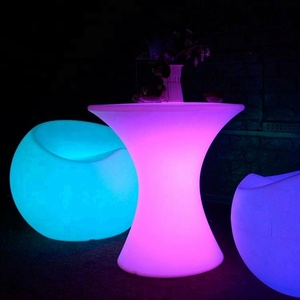 2016 hot selling party rental led light round table with chairs