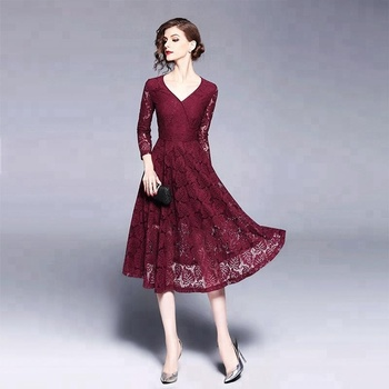 fe4e10f70c4 V Neck Waisted Wine Red Floral Embroidered Lace Dress - Buy Red Lace ...