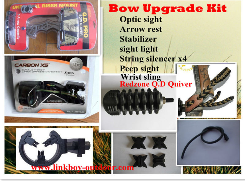 Linkboy archery compound bow upgrade kit ,archery combo, sight,stabilizer,arrow rest,peep,quiver7 in 1 archery hunting