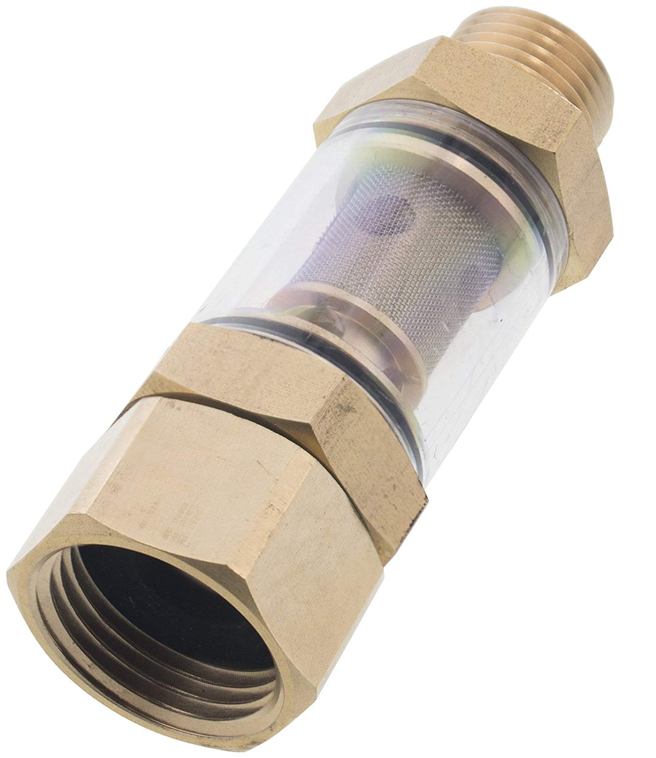 "Erie Tools Clear Inlet Pressure Washer Attachment Water Sediment Filter 1/2"" NPT x 3/4"""