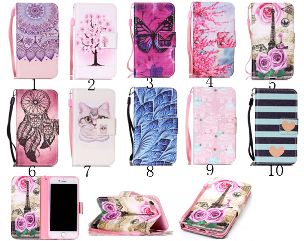 Painted Flip Case Wallet Leather Cover for iphone Samsung galaxy 4s 5C 5 5s SE 6 6s 7 plus S3 i9300 S4 S5 Neo S6 S7 S7edge