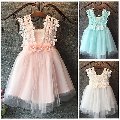 Fasion XMAS Baby Girl Princess Party Pearl Lace Tulle Flower Gown font b Fancy b font