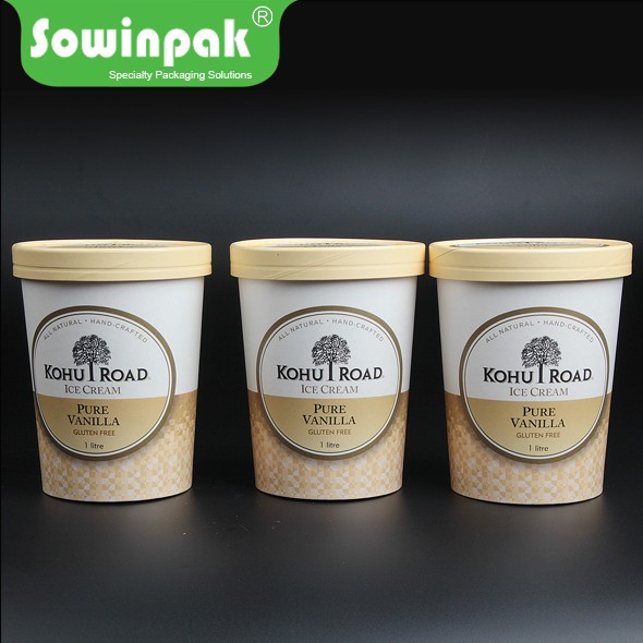 Custom Logo printed paper cheese ice cream packaging tubs with lids