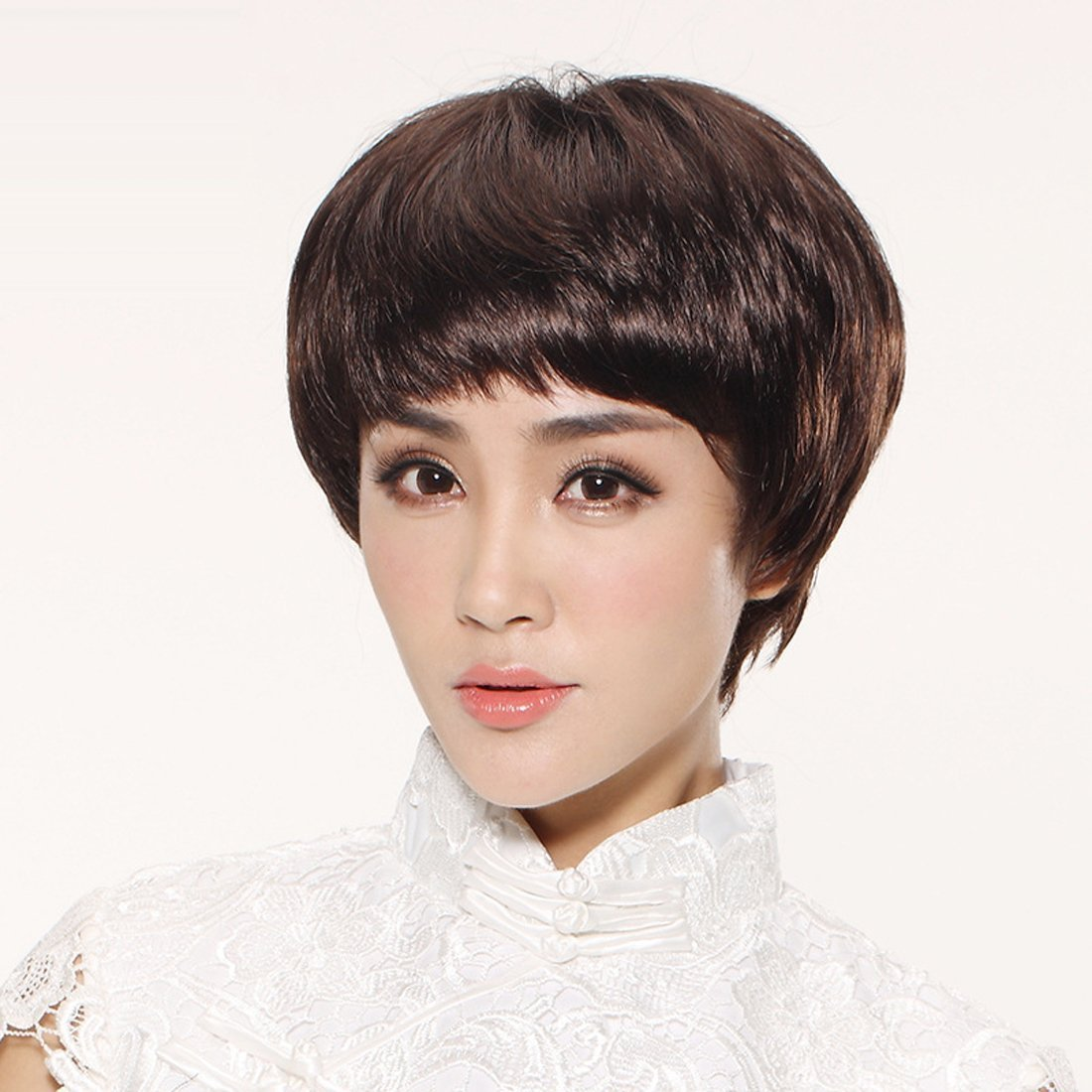 Coolsky Dark Brown Short Stright Wig Mother Wig OL Lady Wig Gift for Mother