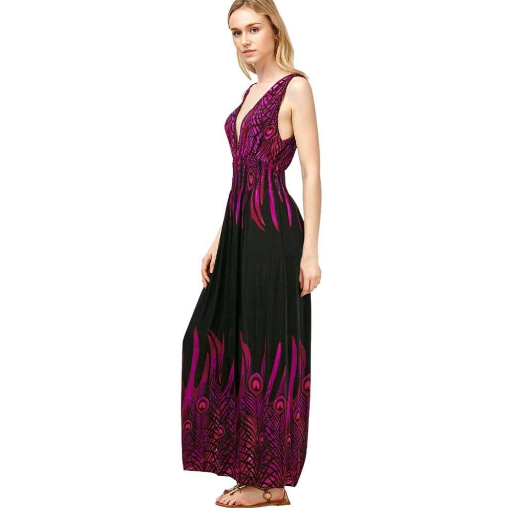 Women's Long Maxi Dress, Balakie Ladies Peacock Print Sleeveless Boho Dress Ladies Evening Party V-neck Dresses (One Size, Purple)