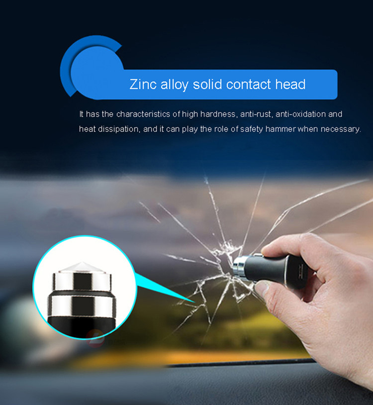 Free Sample 2019 New product multi-function qc 3.0 car charger 12v output usb car charger with safety hammer car charger