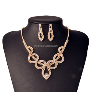 Costume jewelry in Cubic zirconia butterfly necklace jewelry set gold color RS61