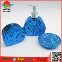 China OEM blue color electroplated ceramic bathroom accessories,ceramic blue electroplated bath sets