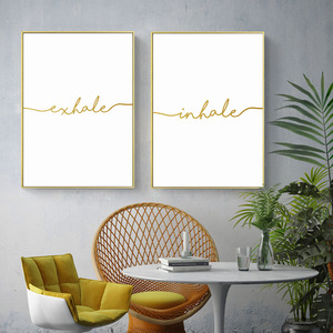 Nordic Modern Inhale Exhale Golden Simple Quote Canvas Painting Wall Art Posters Prints Wall Pictures Drop Shipping