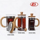 Eco-friendly custom bamboo handle pyrex french press cup coffee tea maker plunger