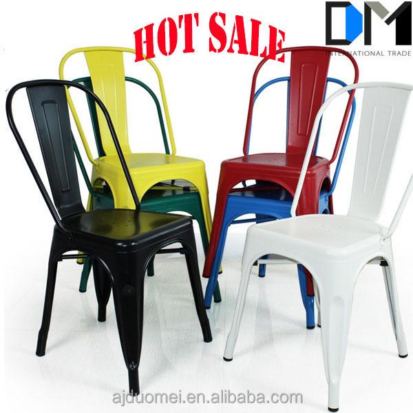 Acier industriel caf chaise m tal empilable industrielle chic salle mang - Chaise acier industriel ...