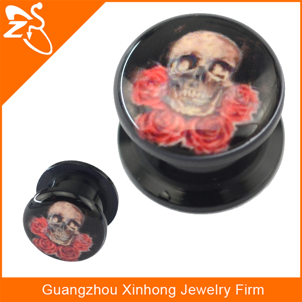 Most Popular Designed Skull Drop Oil Picture on Acrylic Black Ear Plugs Fashion Ear Piercing Body Jewelry Gauges