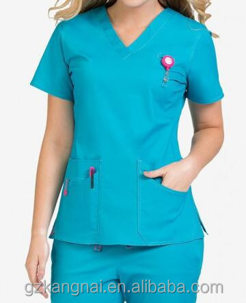 CGZ013 Custom/OEM 100%Cotton Fashionable Design Women's V-neck Medical Scrub Top with Two Pockets