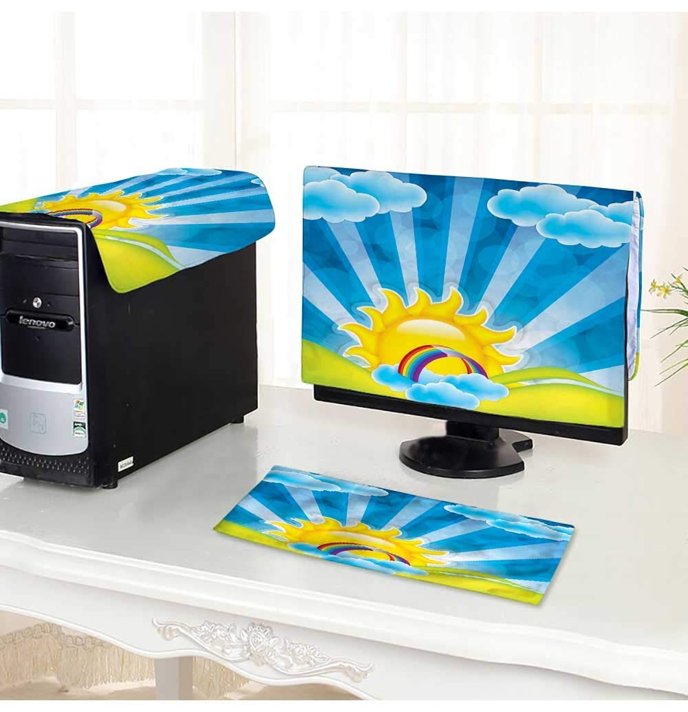 PRUNUS Computer Cover 3 Pieces Spring Frame with Sun and Clouds Antistatic, Water Resistant /32""