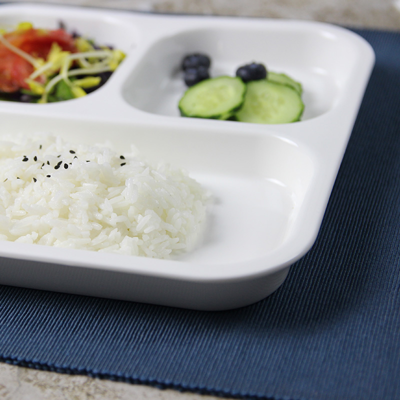 High quality sanitary three compartments white ceramic breakfast plate