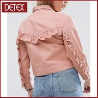 Ruffle Washed Pink Wholesale Denim Jackets Women