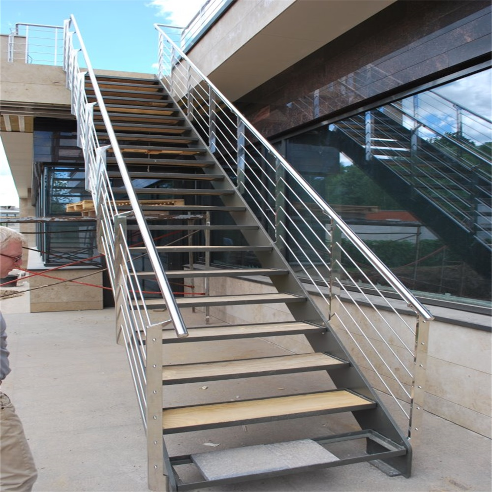 Easy Installation Wooden Interior Stairs Stainless Steel Cable