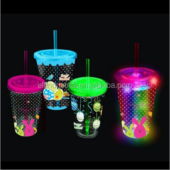 Easter party favor flashing plastic Led Cup16oz double wall insulated LED flashing tumbler with straw