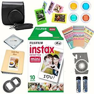 Fujifilm instax mini 8 accessories KIT BLACK includes - instant film 10 pack + deluxe bundle for fujifilm instax mini 8 cameras