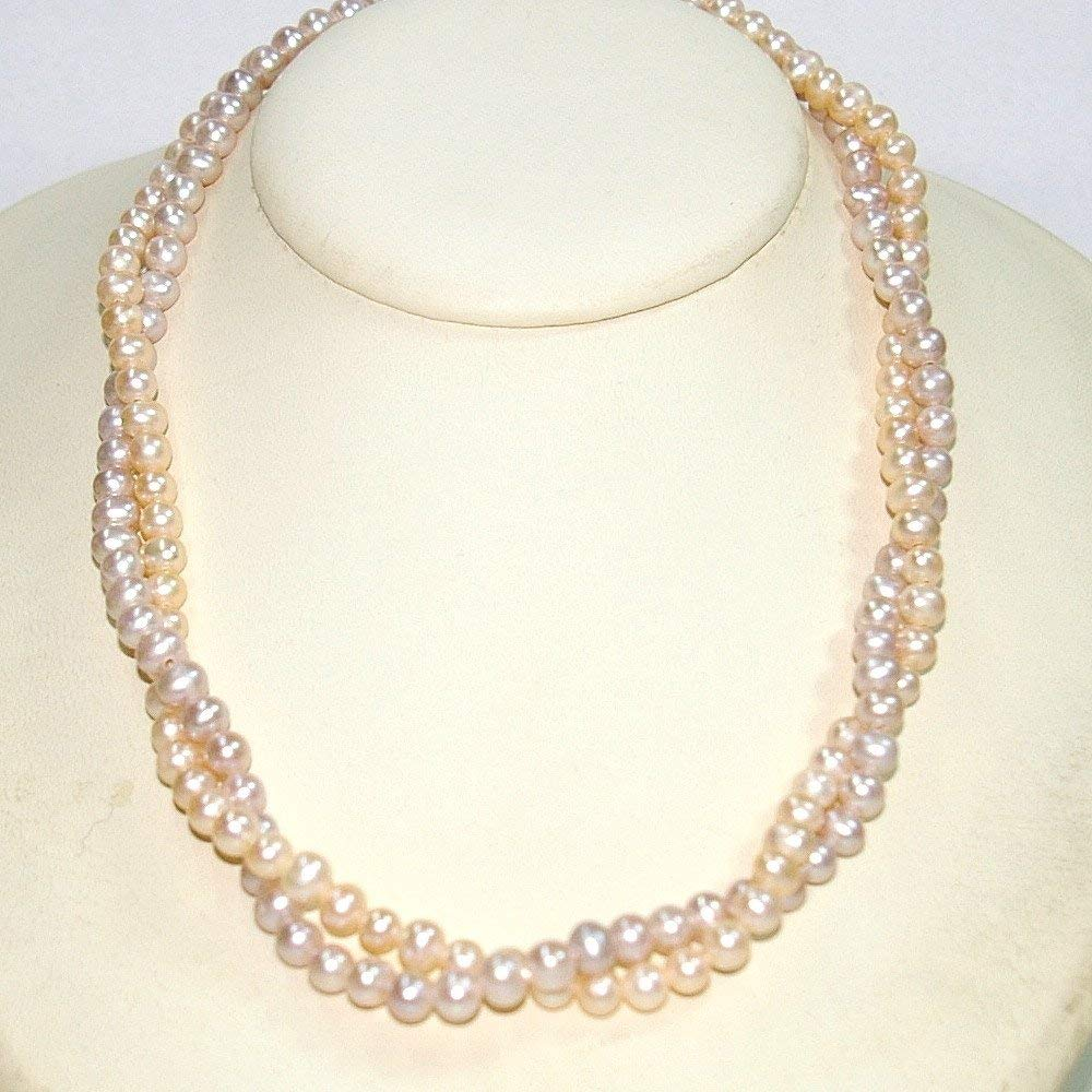 5mm Two Tone Pink and Peach Genuine Cultured Freshwater Pearls Two Strands NECKLACE Strung on 925 Sterling Silver Chains