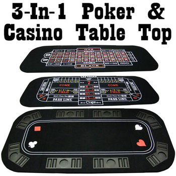3 In 1 Craps And Roulette Reversible Poker Table Top