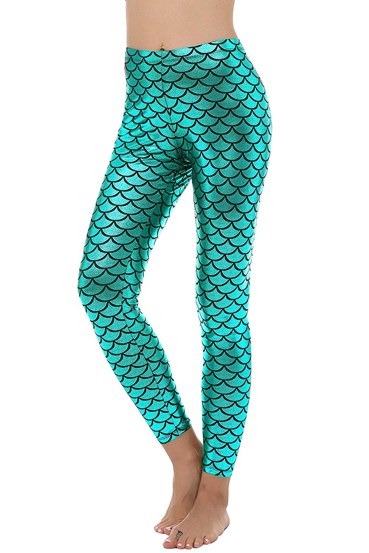 15e9a12659674b Get Quotations · BLACK JACKY Women's Sexy Mermaid Fish Scale Hologram  Stretch Soft Shine Leggings