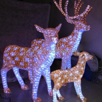 customize motif decoration lights 3d led large outdoor christmas reindeer light