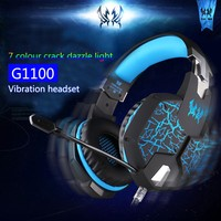EACH G1100 Vibration Function Professional Gaming Headphone Games Headset with Mic Stereo Bass Breathing LED Light for PC Gamer