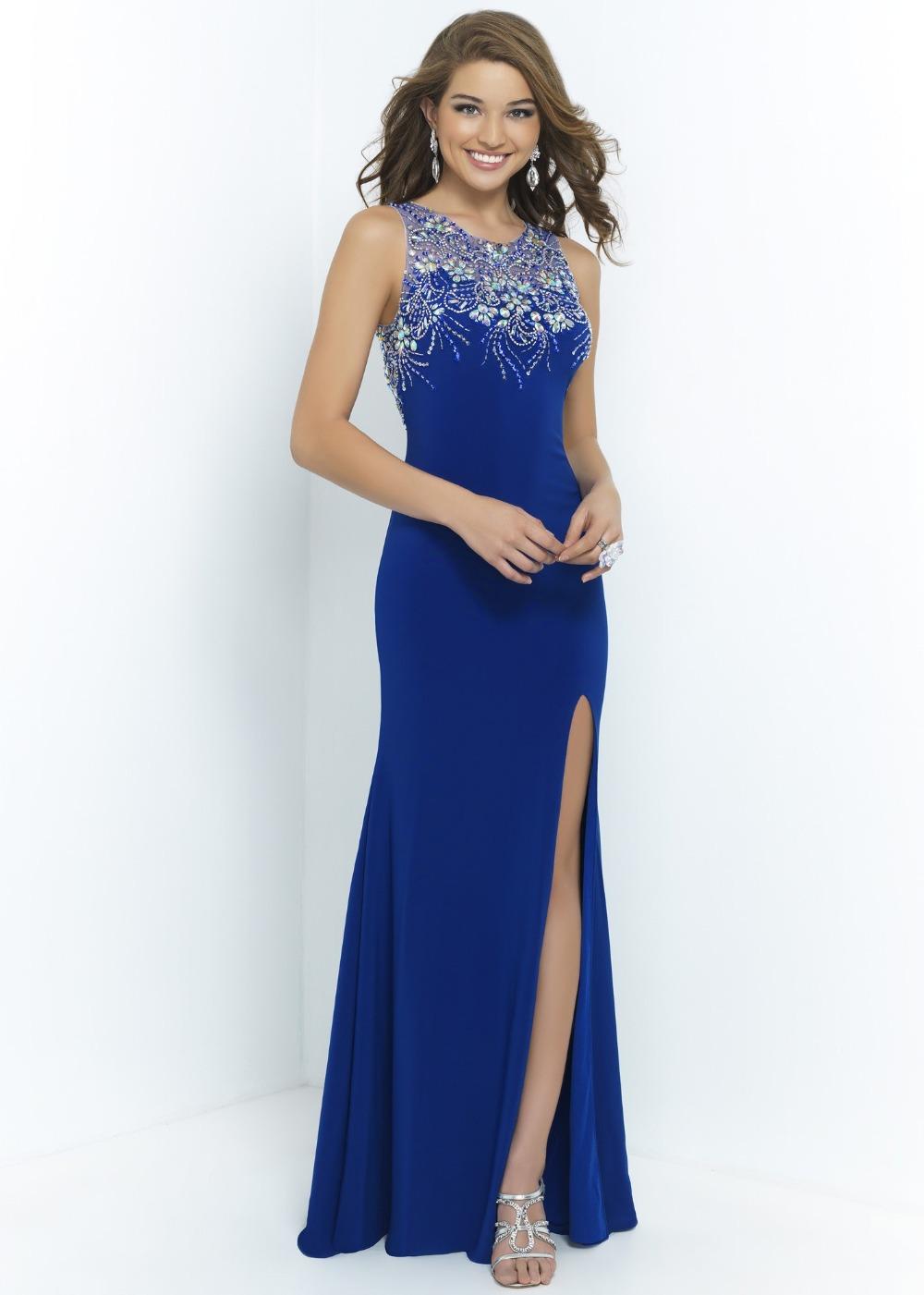b7a4a68057 Get Quotations · Shiny Crystals Rhinestones Beaded Blue Pearl Pink Side  Silt Long Prom Evening Dress Vestido De Festa