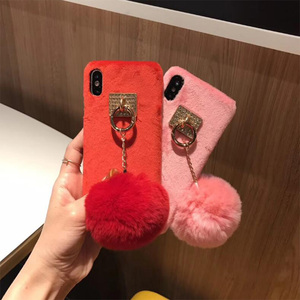 2018 Luxury Winter Grily Fur Ball Metal Ring Plush Hard PC Back Cover Phone Case For iPhone X 8 Plus 7Plus 7 G 8G 6 6s 6Plus