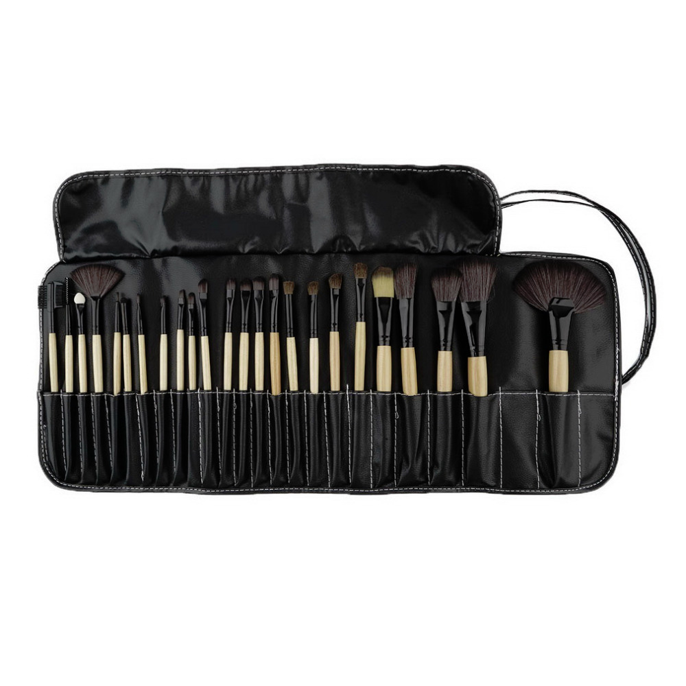 1Set 24 Pcs Makeup Brush Cosmetic Tool Kit Eyeshadow Powder Brush Set + Case Suitable for professional and personal Wholesale