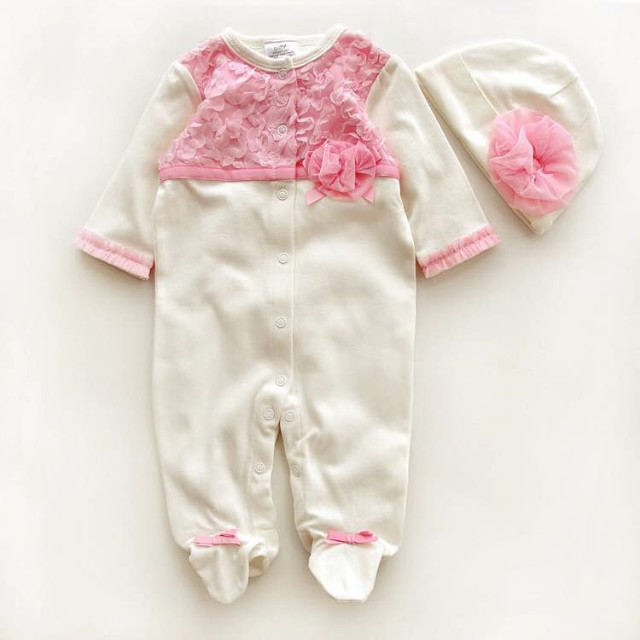 100 Cotton New 2015 Baby Girl Long Sleeve Rompers with hat Fashion Newborn Baby One Piece