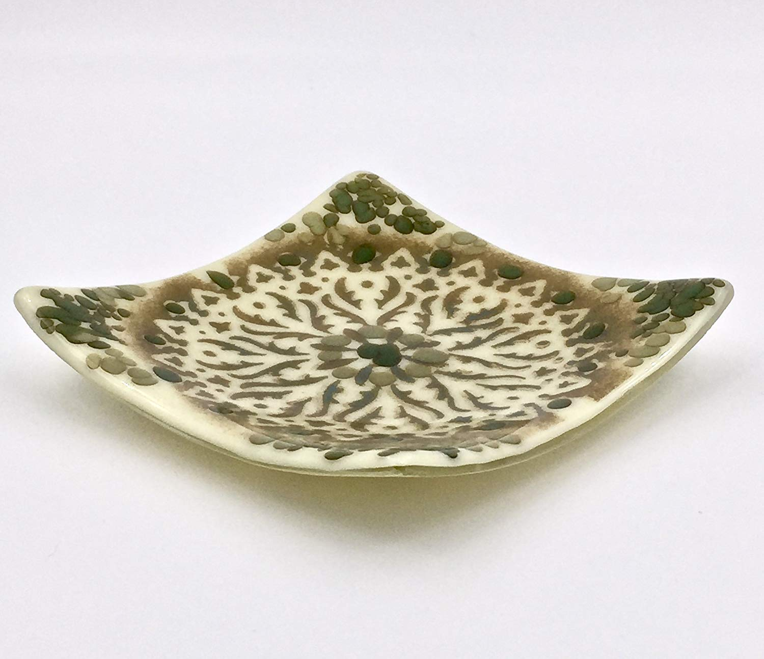 "6"" Decorative Fused Glass Decorative Plate in Ivory, Taupe and Green"