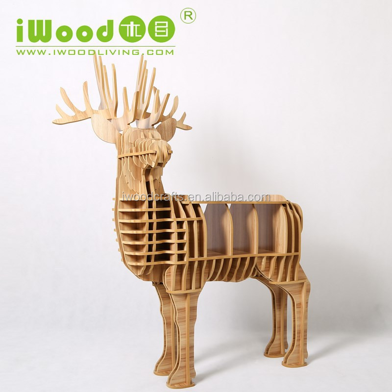 Art decor style furniture, Wooden deer animal furniture for coffee shop