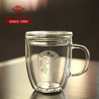 BOYU china blown clear cafe latte espresso coffee glass cup with logo