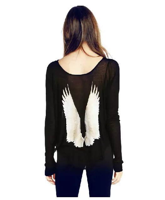 Womens Sweaters Fashion 2015 Autumn Cheap Wool Sweater Angel Wings Pullovers O-Neck Long Sleeve Oversized Cashmere Sweater shirt