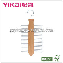 20 holders wooden hanger for tie with Natural color