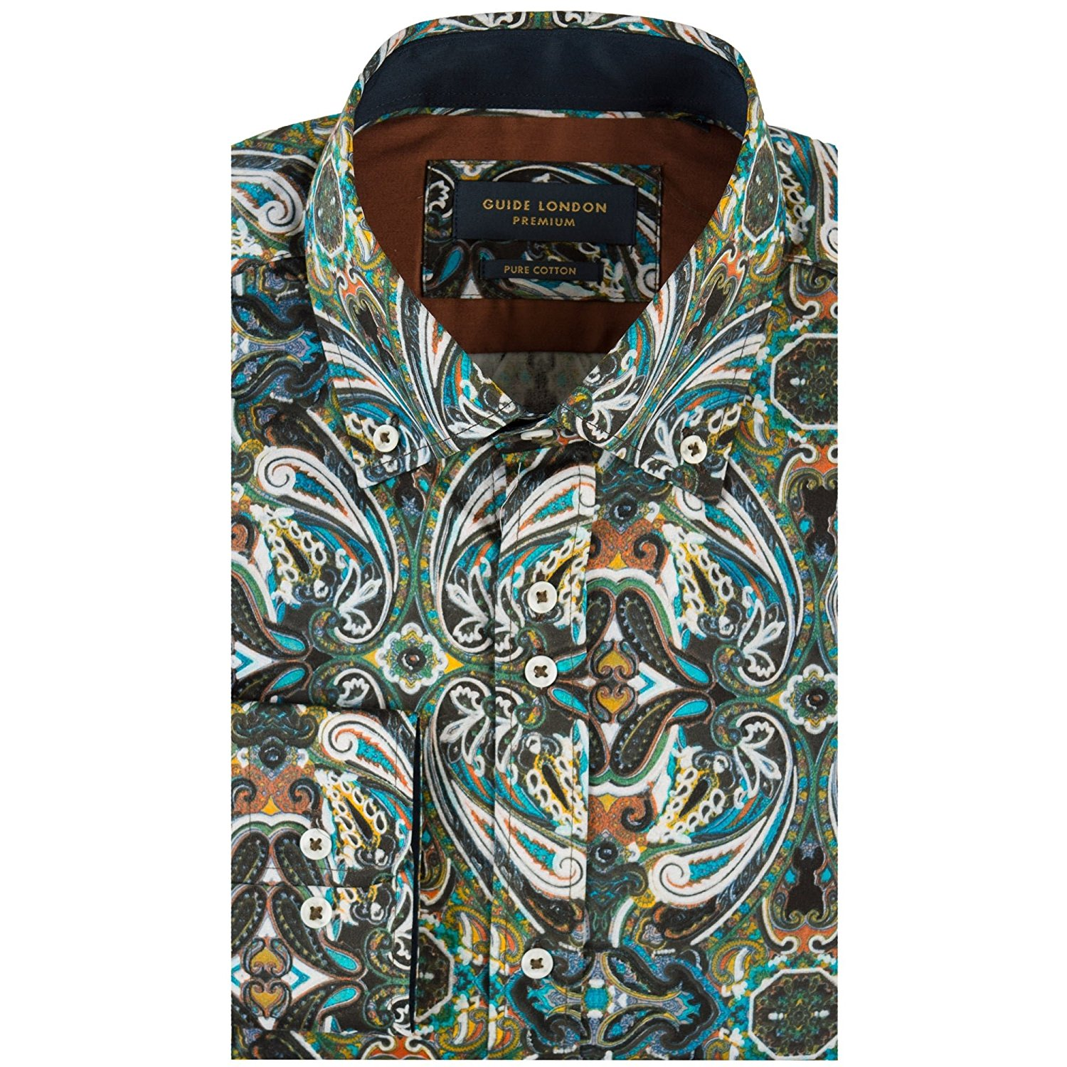 64ff19316a268 Get Quotations · Guide London Large Paisley Print Mens Shirt