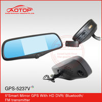 universal car gps 5 inch mirror with gps, bluetooth and dvr, radar detector, av in